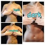 light , medium, dark tans